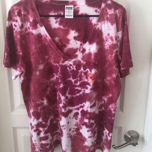 VS PINK Virginia Tech tie dye v-neck T-shirt